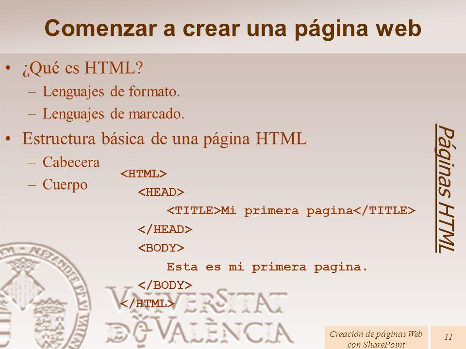 ¿Qué es HTML? –Lenguajes de formato. –Lenguajes de marcado. Estructura básica de una página HTML –Cabecera –Cuerpo Comenzar a crear una página web Pág