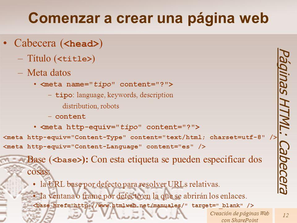 Cabecera ( ) –Título ( ) –Meta datos –tipo : language, keywords, description distribution, robots –content –Base ( ): Con esta etiqueta se pueden especificar dos cosas: la URL base por defecto para resolver URLs relativas.