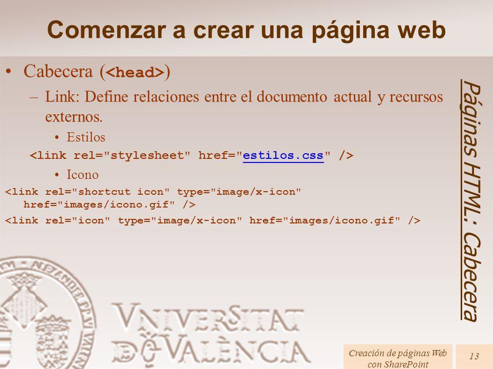 Cabecera ( ) –Link: Define relaciones entre el documento actual y recursos externos. Estilos estilos.css Icono Comenzar a crear una página web Páginas