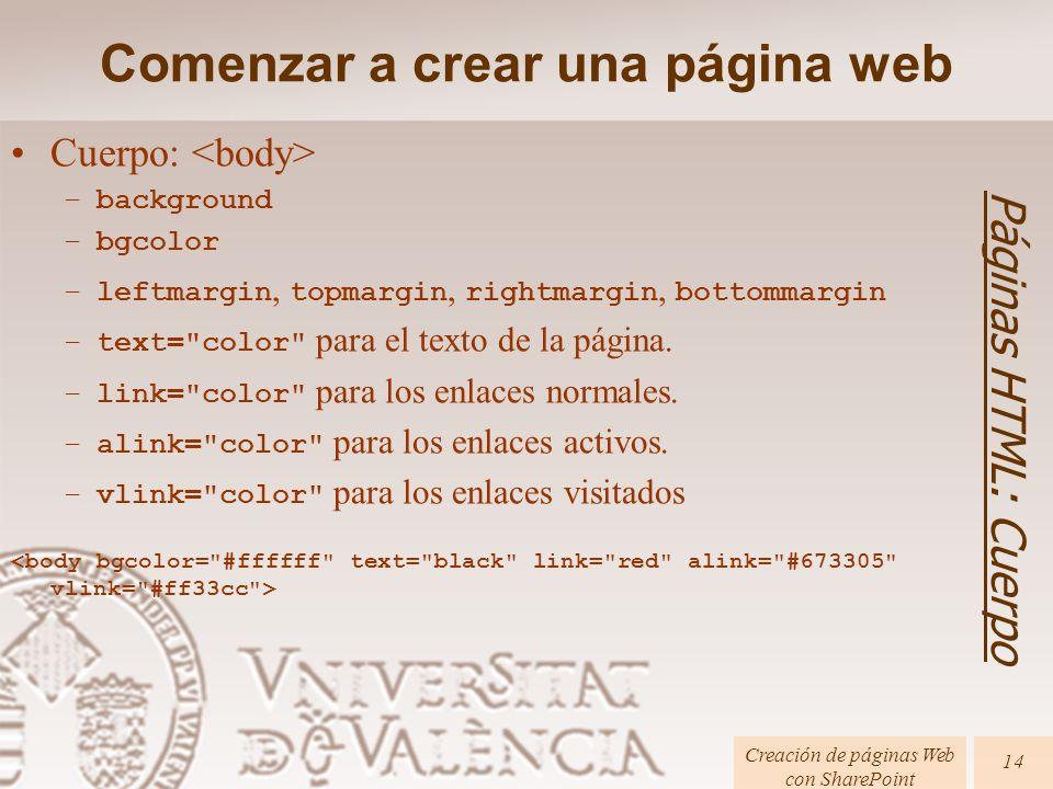 Cuerpo: –background –bgcolor –leftmargin, topmargin, rightmargin, bottommargin –text= color para el texto de la página.