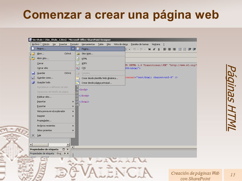 Comenzar a crear una página web Páginas HTML Creación de páginas Web con SharePoint 15