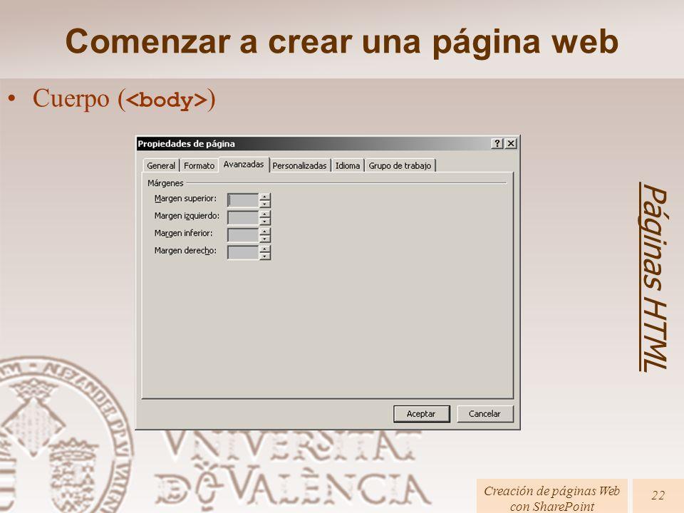 Cuerpo ( ) Comenzar a crear una página web Páginas HTML Creación de páginas Web con SharePoint 22