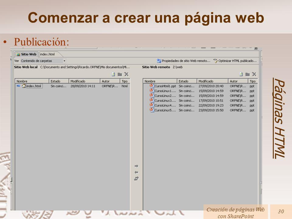 Páginas HTML Creación de páginas Web con SharePoint 30 Publicación: Comenzar a crear una página web