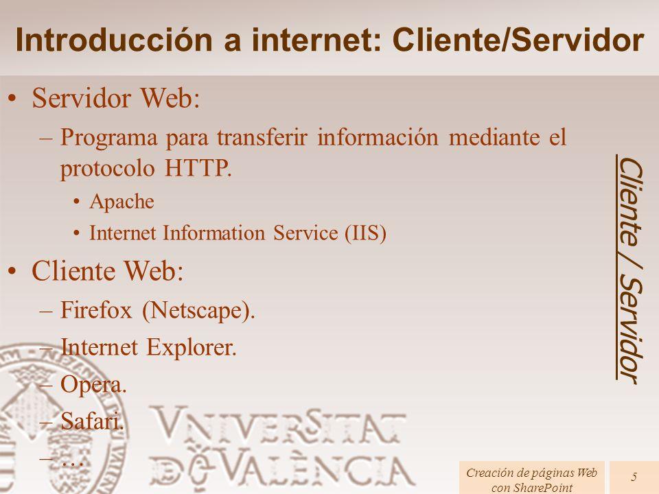 Introducción a internet: Cliente/Servidor Cliente / Servidor Creación de páginas Web con SharePoint 5 Servidor Web: –Programa para transferir informac