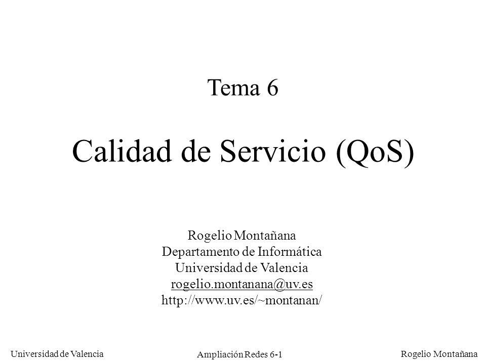 Universidad de Valencia Rogelio Montañana Ampliación Redes 6-1 Tema 6 Calidad de Servicio (QoS) Rogelio Montañana Departamento de Informática Universi