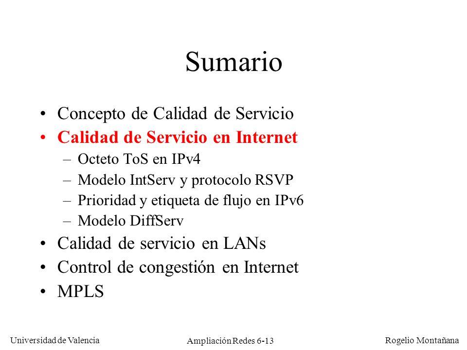 Universidad de Valencia Rogelio Montañana Ampliación Redes 6-13 Sumario Concepto de Calidad de Servicio Calidad de Servicio en Internet –Octeto ToS en