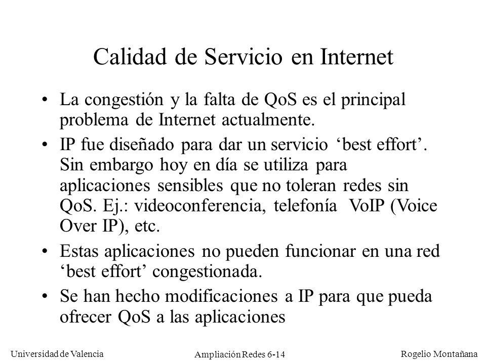 Universidad de Valencia Rogelio Montañana Ampliación Redes 6-14 Calidad de Servicio en Internet La congestión y la falta de QoS es el principal proble