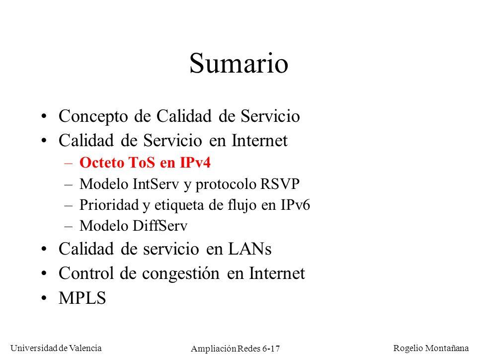 Universidad de Valencia Rogelio Montañana Ampliación Redes 6-17 Sumario Concepto de Calidad de Servicio Calidad de Servicio en Internet –Octeto ToS en