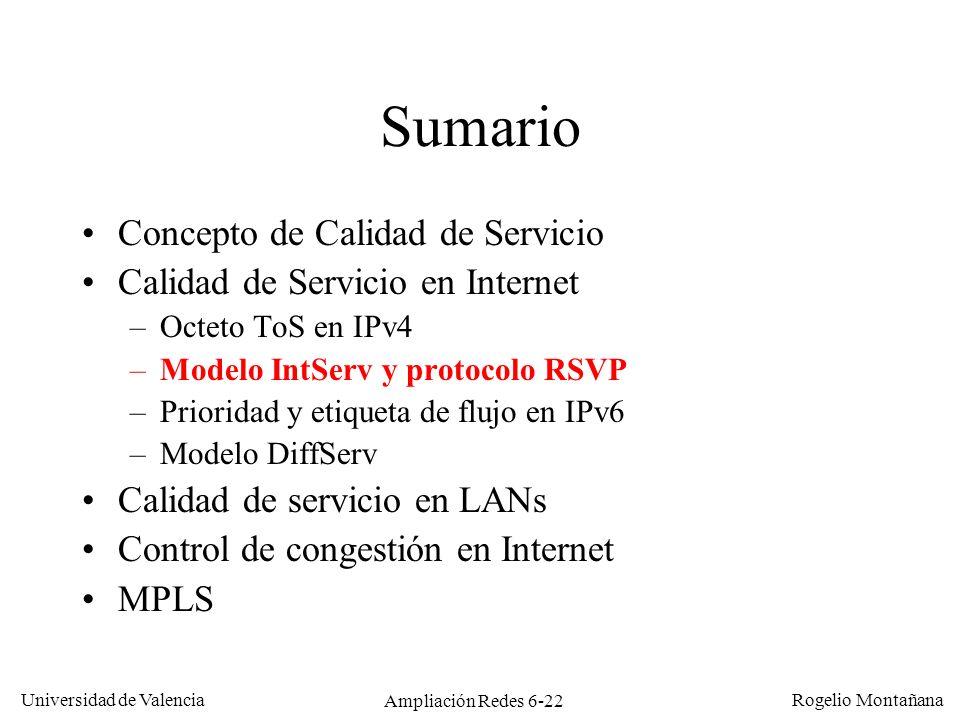 Universidad de Valencia Rogelio Montañana Ampliación Redes 6-22 Sumario Concepto de Calidad de Servicio Calidad de Servicio en Internet –Octeto ToS en