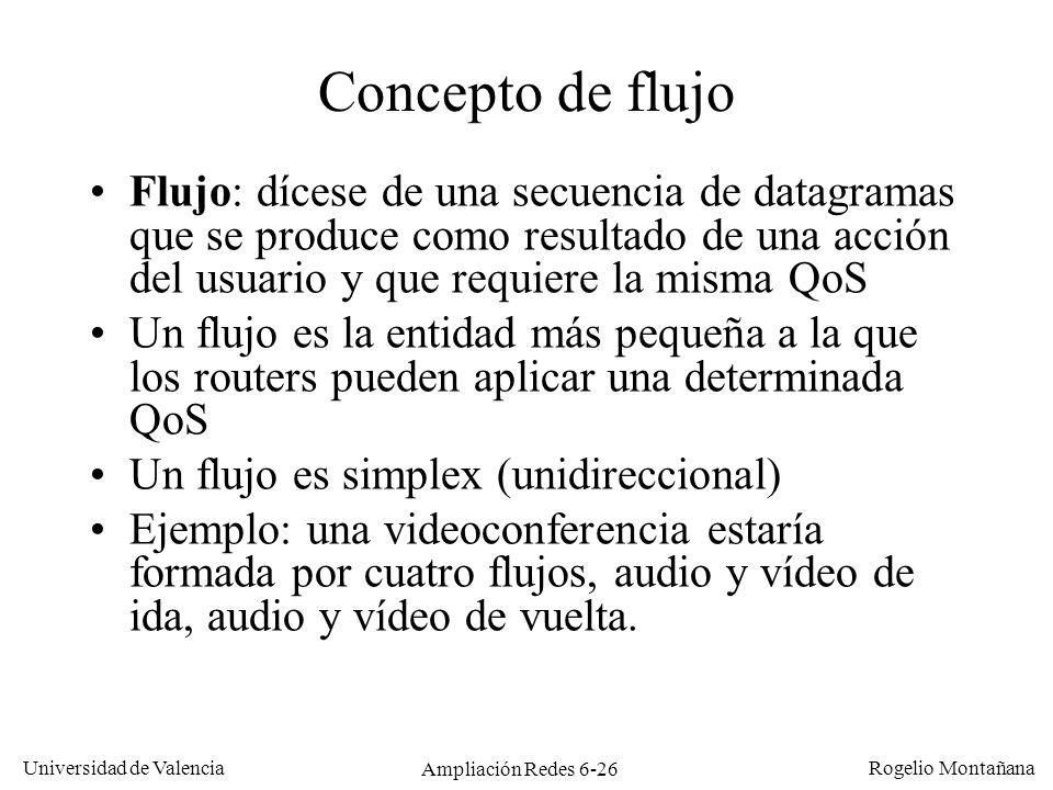 Universidad de Valencia Rogelio Montañana Ampliación Redes 6-26 Concepto de flujo Flujo: dícese de una secuencia de datagramas que se produce como res