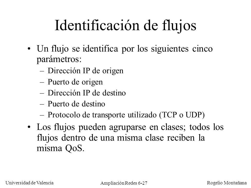 Universidad de Valencia Rogelio Montañana Ampliación Redes 6-27 Identificación de flujos Un flujo se identifica por los siguientes cinco parámetros: –