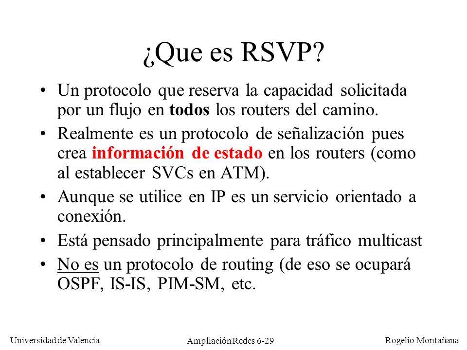 Universidad de Valencia Rogelio Montañana Ampliación Redes 6-29 ¿Que es RSVP? Un protocolo que reserva la capacidad solicitada por un flujo en todos l