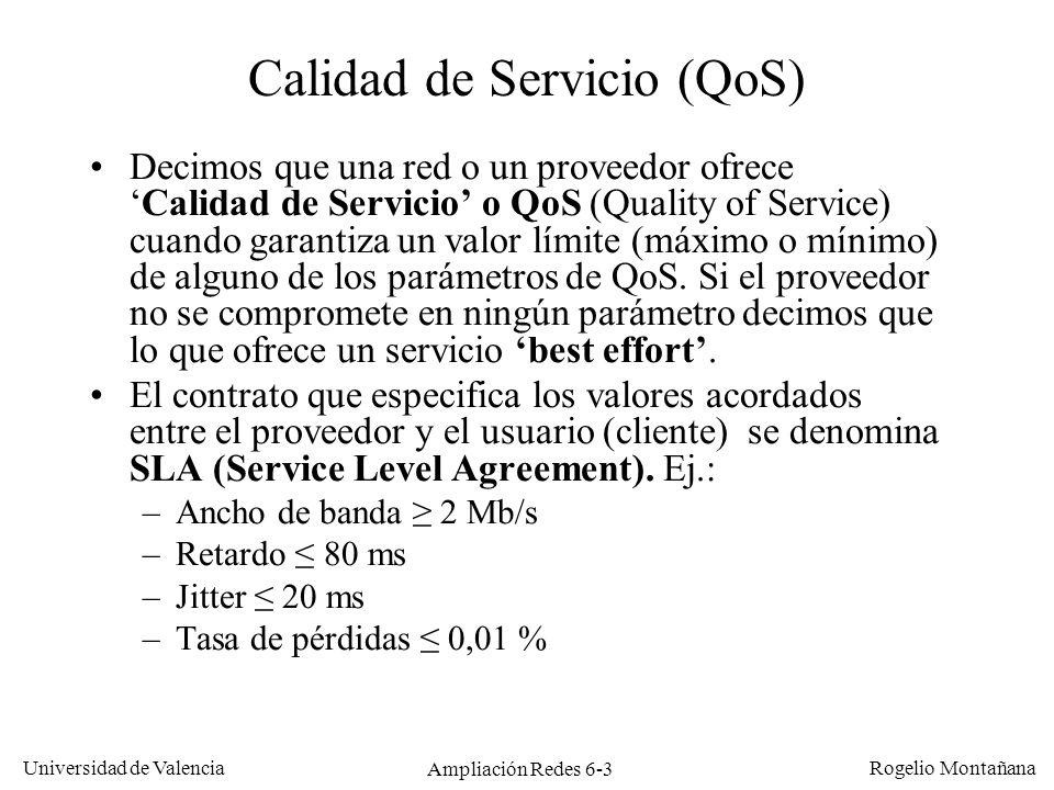 Universidad de Valencia Rogelio Montañana Ampliación Redes 6-3 Calidad de Servicio (QoS) Decimos que una red o un proveedor ofreceCalidad de Servicio