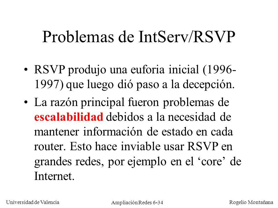 Universidad de Valencia Rogelio Montañana Ampliación Redes 6-34 Problemas de IntServ/RSVP RSVP produjo una euforia inicial (1996- 1997) que luego dió