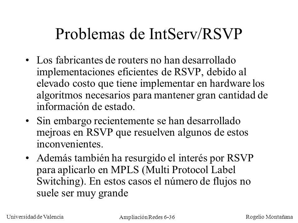 Universidad de Valencia Rogelio Montañana Ampliación Redes 6-36 Problemas de IntServ/RSVP Los fabricantes de routers no han desarrollado implementacio
