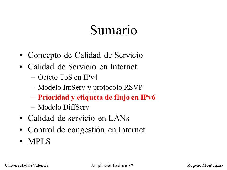 Universidad de Valencia Rogelio Montañana Ampliación Redes 6-37 Sumario Concepto de Calidad de Servicio Calidad de Servicio en Internet –Octeto ToS en