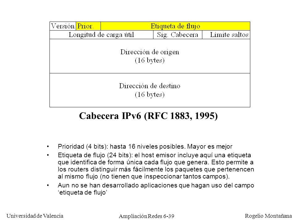 Universidad de Valencia Rogelio Montañana Ampliación Redes 6-39 Cabecera IPv6 (RFC 1883, 1995) Prioridad (4 bits): hasta 16 niveles posibles. Mayor es