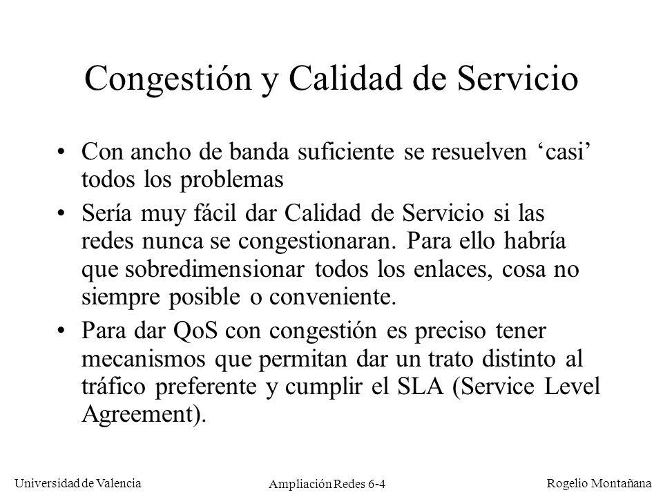 Universidad de Valencia Rogelio Montañana Ampliación Redes 6-4 Congestión y Calidad de Servicio Con ancho de banda suficiente se resuelven casi todos