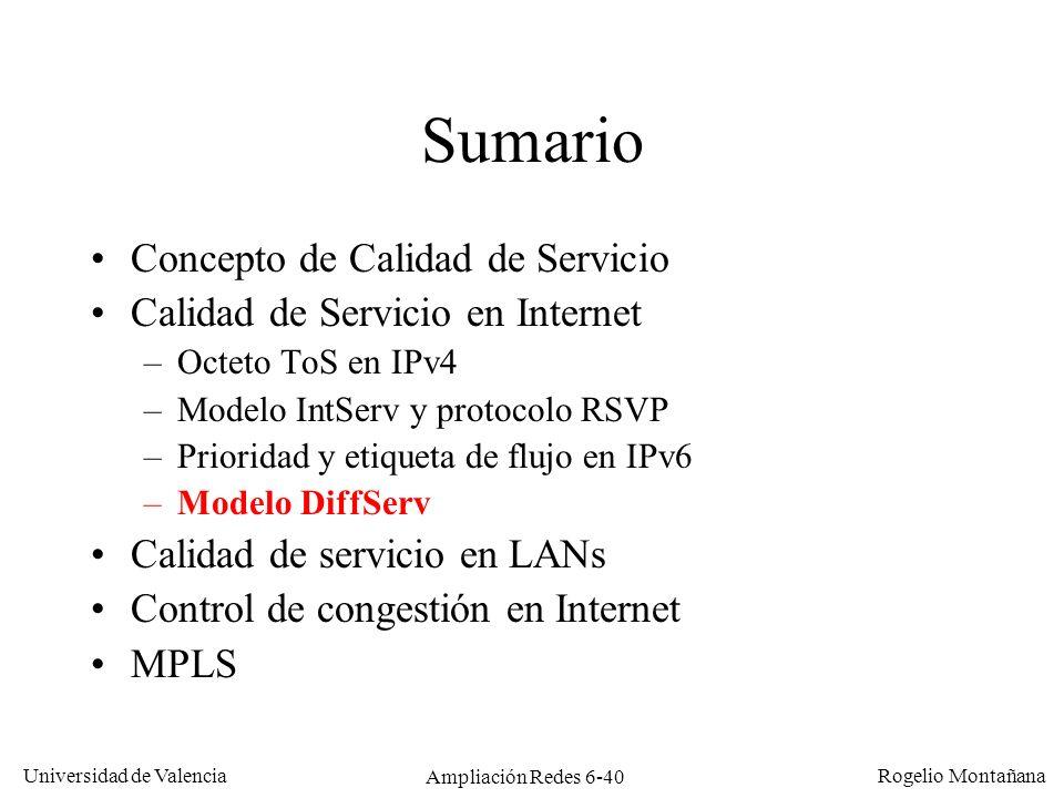 Universidad de Valencia Rogelio Montañana Ampliación Redes 6-40 Sumario Concepto de Calidad de Servicio Calidad de Servicio en Internet –Octeto ToS en
