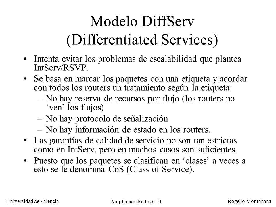 Universidad de Valencia Rogelio Montañana Ampliación Redes 6-41 Modelo DiffServ (Differentiated Services) Intenta evitar los problemas de escalabilida
