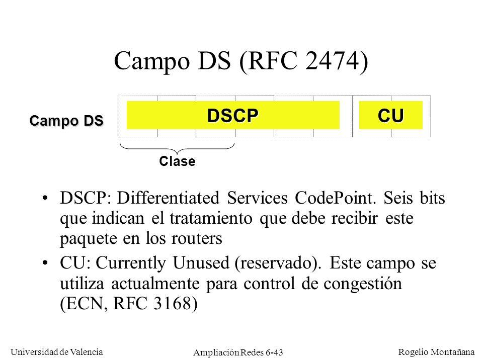 Universidad de Valencia Rogelio Montañana Ampliación Redes 6-43 Campo DS (RFC 2474) DSCP: Differentiated Services CodePoint. Seis bits que indican el