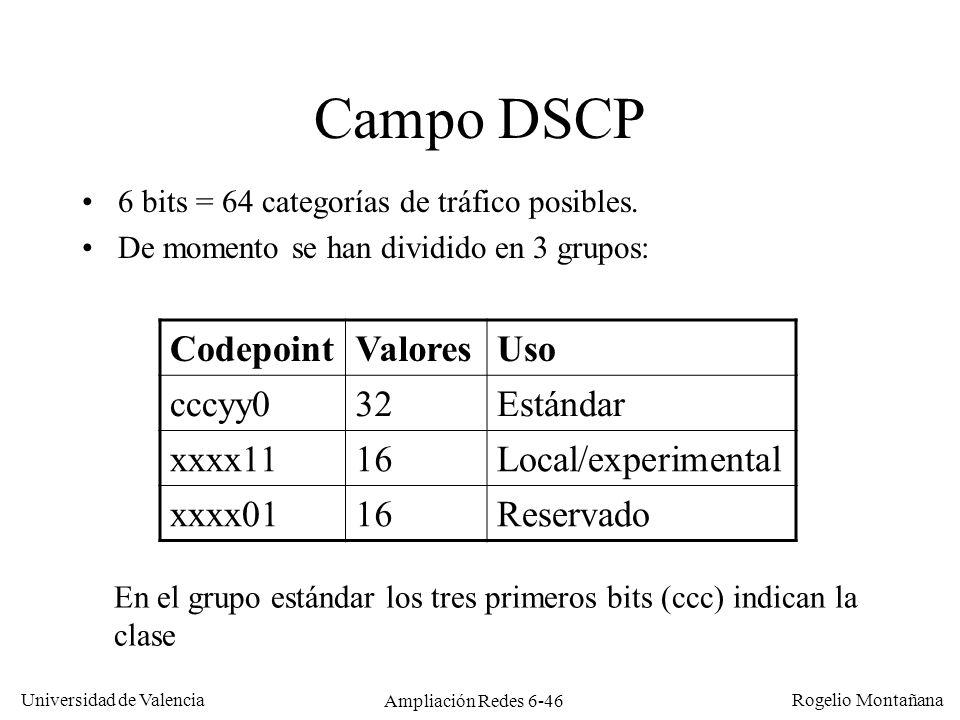 Universidad de Valencia Rogelio Montañana Ampliación Redes 6-46 Campo DSCP 6 bits = 64 categorías de tráfico posibles. De momento se han dividido en 3