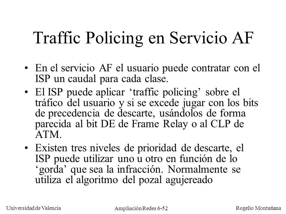 Universidad de Valencia Rogelio Montañana Ampliación Redes 6-52 Traffic Policing en Servicio AF En el servicio AF el usuario puede contratar con el IS