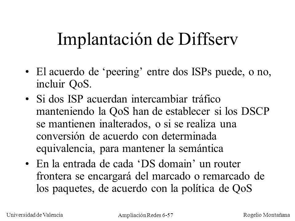 Universidad de Valencia Rogelio Montañana Ampliación Redes 6-57 Implantación de Diffserv El acuerdo de peering entre dos ISPs puede, o no, incluir QoS