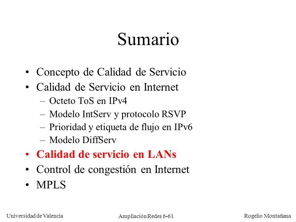 Universidad de Valencia Rogelio Montañana Ampliación Redes 6-61 Sumario Concepto de Calidad de Servicio Calidad de Servicio en Internet –Octeto ToS en
