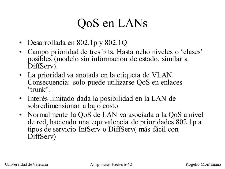 Universidad de Valencia Rogelio Montañana Ampliación Redes 6-62 QoS en LANs Desarrollada en 802.1p y 802.1Q Campo prioridad de tres bits. Hasta ocho n