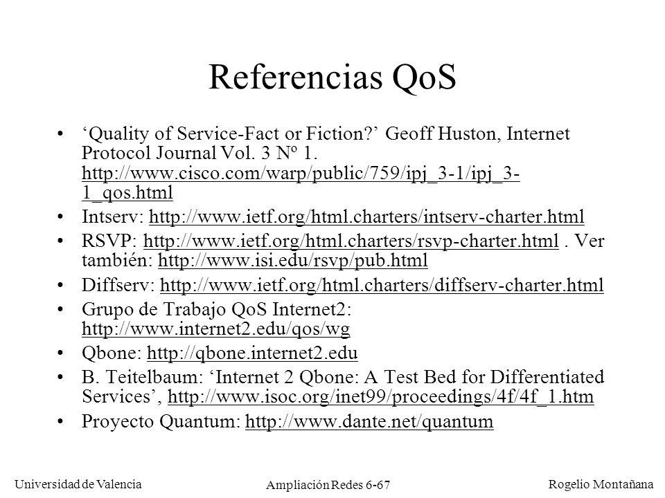 Universidad de Valencia Rogelio Montañana Ampliación Redes 6-67 Referencias QoS Quality of Service-Fact or Fiction? Geoff Huston, Internet Protocol Jo