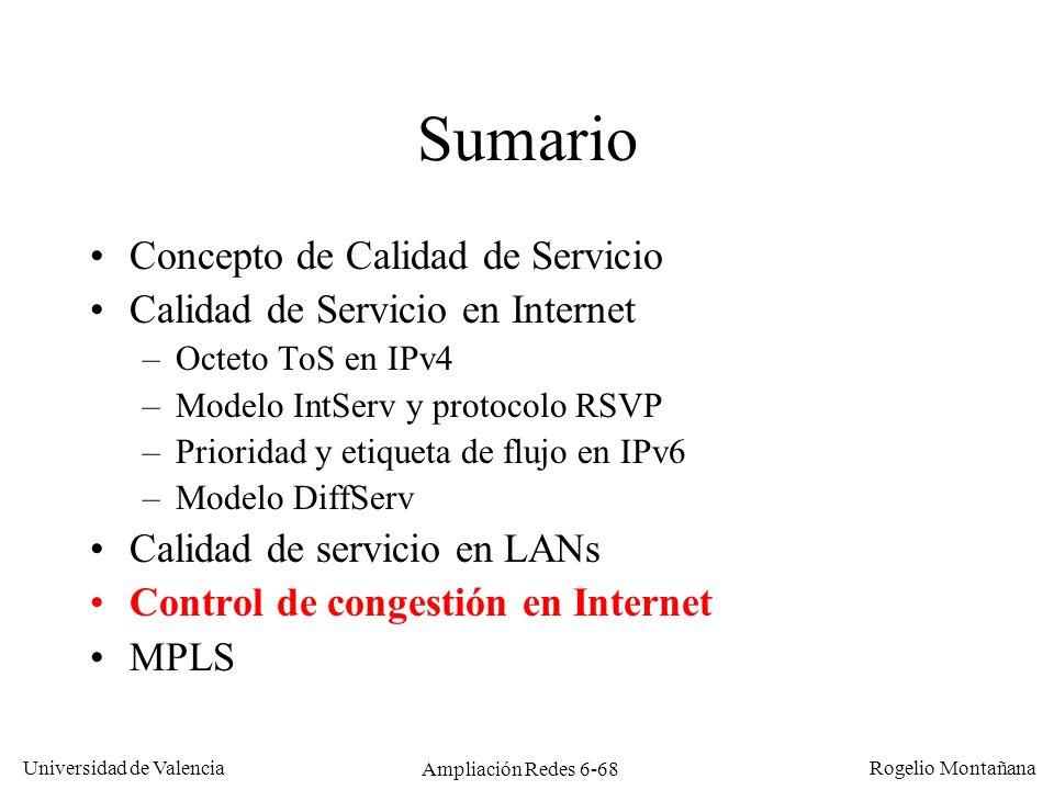 Universidad de Valencia Rogelio Montañana Ampliación Redes 6-68 Sumario Concepto de Calidad de Servicio Calidad de Servicio en Internet –Octeto ToS en