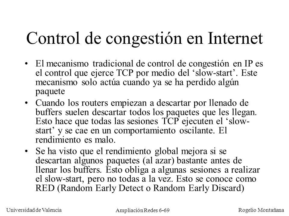 Universidad de Valencia Rogelio Montañana Ampliación Redes 6-69 Control de congestión en Internet El mecanismo tradicional de control de congestión en