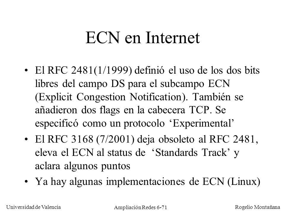 Universidad de Valencia Rogelio Montañana Ampliación Redes 6-71 ECN en Internet El RFC 2481(1/1999) definió el uso de los dos bits libres del campo DS