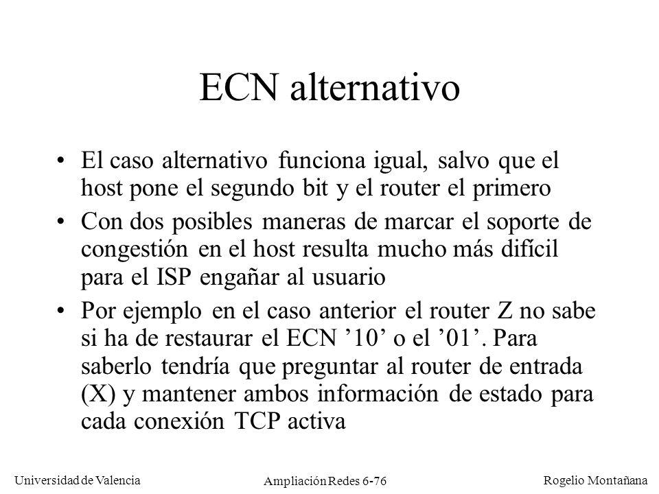 Universidad de Valencia Rogelio Montañana Ampliación Redes 6-76 ECN alternativo El caso alternativo funciona igual, salvo que el host pone el segundo