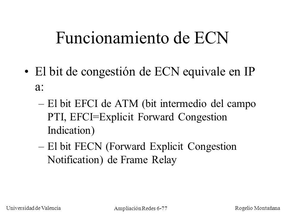 Universidad de Valencia Rogelio Montañana Ampliación Redes 6-77 Funcionamiento de ECN El bit de congestión de ECN equivale en IP a: –El bit EFCI de AT