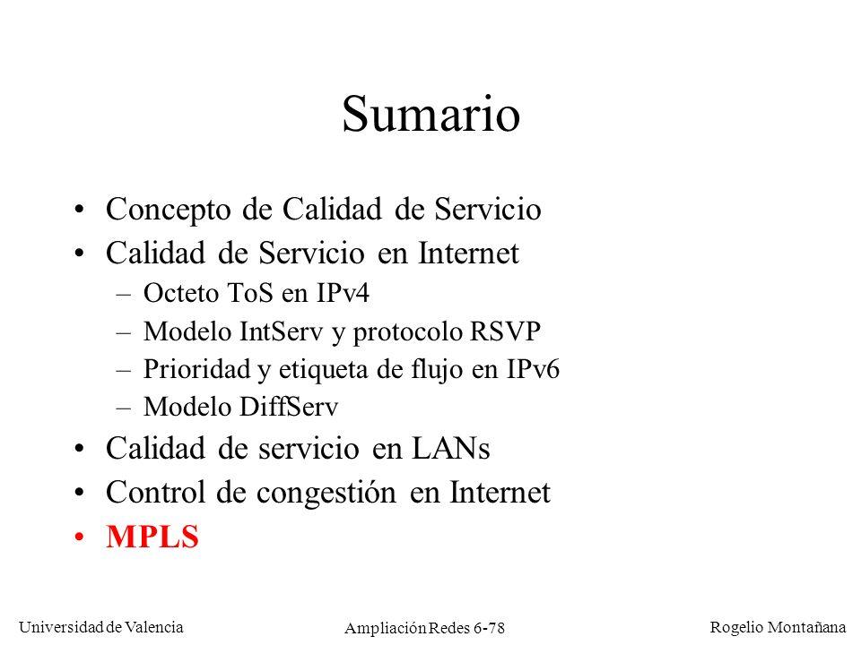 Universidad de Valencia Rogelio Montañana Ampliación Redes 6-78 Sumario Concepto de Calidad de Servicio Calidad de Servicio en Internet –Octeto ToS en