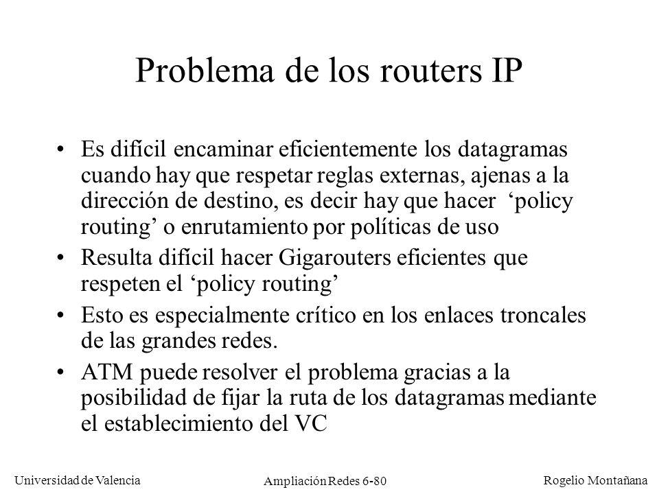 Universidad de Valencia Rogelio Montañana Ampliación Redes 6-80 Problema de los routers IP Es difícil encaminar eficientemente los datagramas cuando h