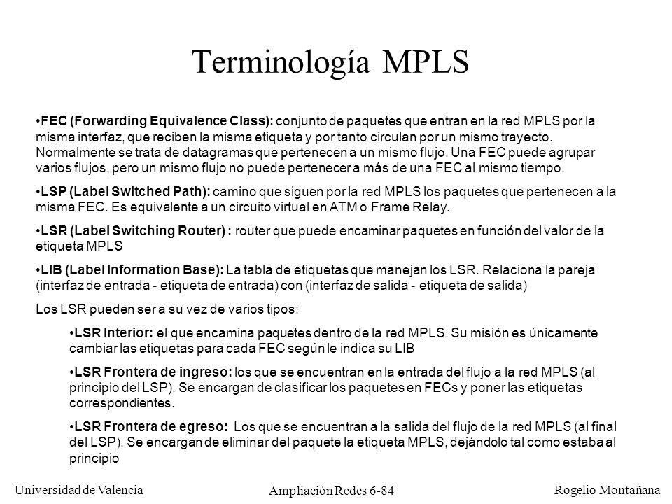 Universidad de Valencia Rogelio Montañana Ampliación Redes 6-84 Terminología MPLS FEC (Forwarding Equivalence Class): conjunto de paquetes que entran