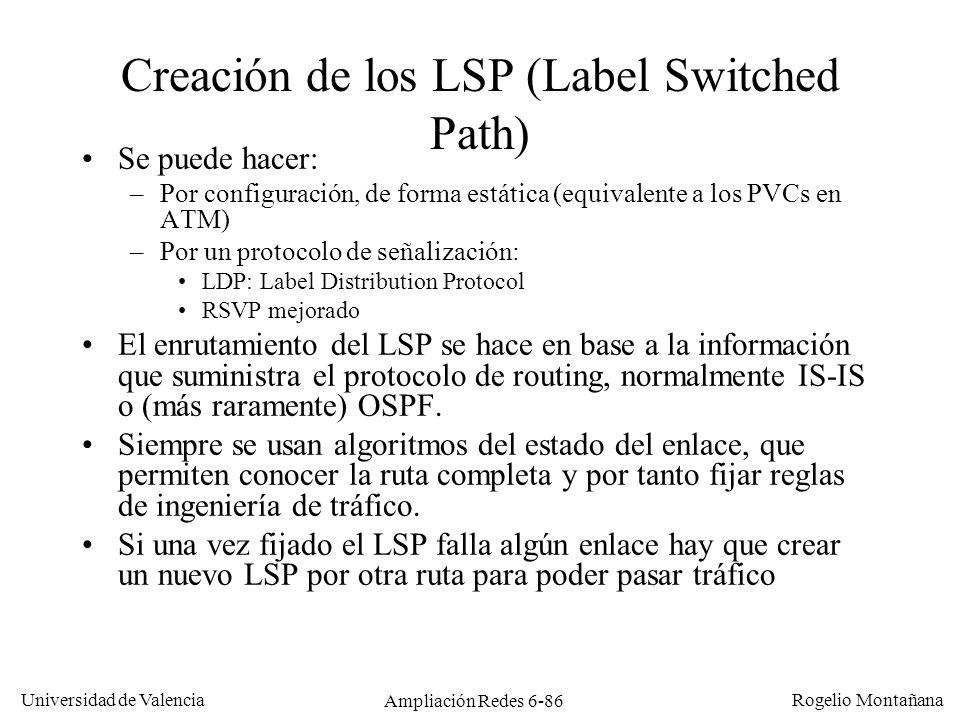 Universidad de Valencia Rogelio Montañana Ampliación Redes 6-86 Creación de los LSP (Label Switched Path) Se puede hacer: –Por configuración, de forma
