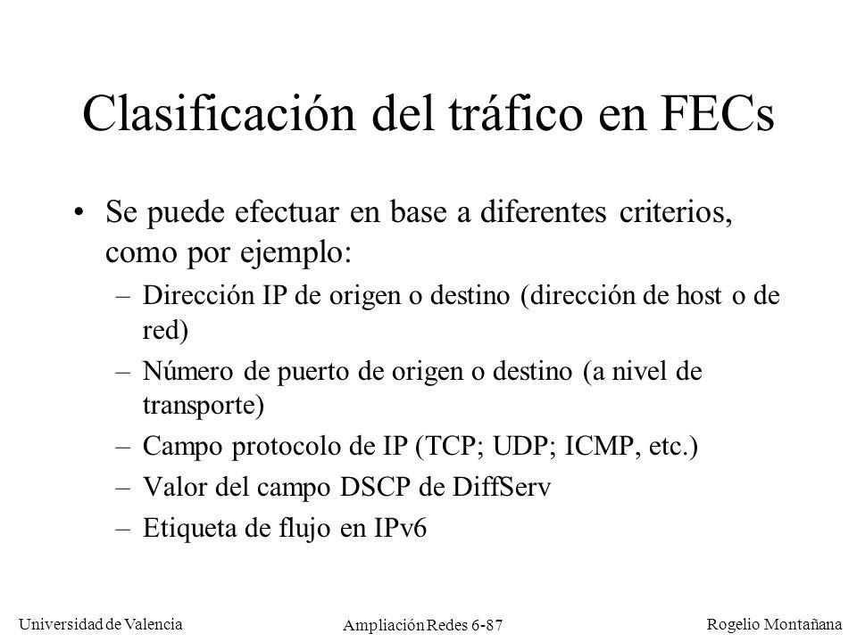 Universidad de Valencia Rogelio Montañana Ampliación Redes 6-87 Clasificación del tráfico en FECs Se puede efectuar en base a diferentes criterios, co