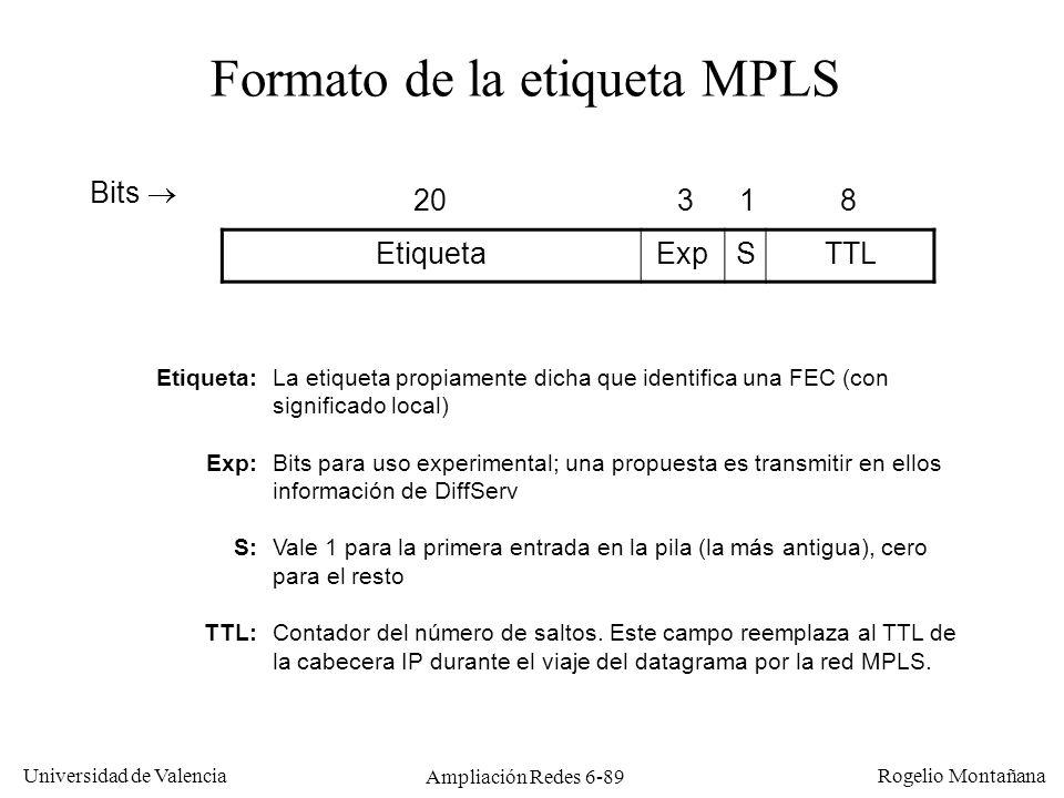 Universidad de Valencia Rogelio Montañana Ampliación Redes 6-89 EtiquetaExpSTTL Bits 20318 Formato de la etiqueta MPLS Etiqueta: Exp: S: TTL: La etiqu