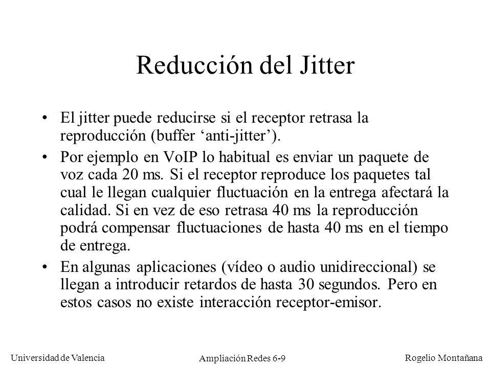 Universidad de Valencia Rogelio Montañana Ampliación Redes 6-9 Reducción del Jitter El jitter puede reducirse si el receptor retrasa la reproducción (