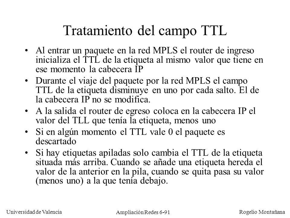 Universidad de Valencia Rogelio Montañana Ampliación Redes 6-91 Tratamiento del campo TTL Al entrar un paquete en la red MPLS el router de ingreso ini