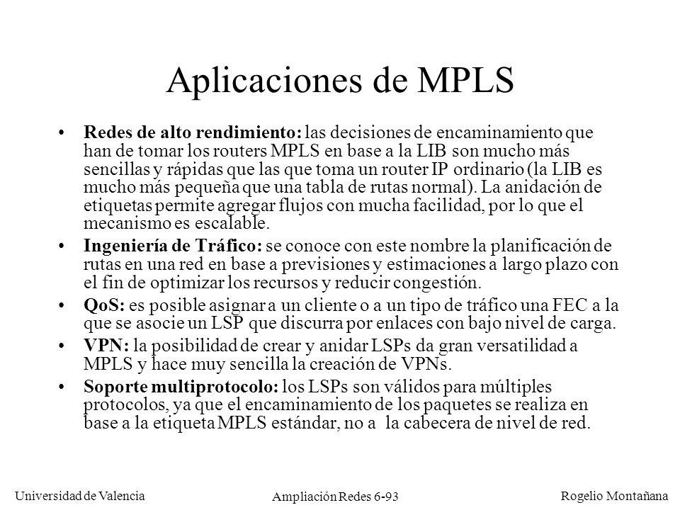 Universidad de Valencia Rogelio Montañana Ampliación Redes 6-93 Aplicaciones de MPLS Redes de alto rendimiento: las decisiones de encaminamiento que h