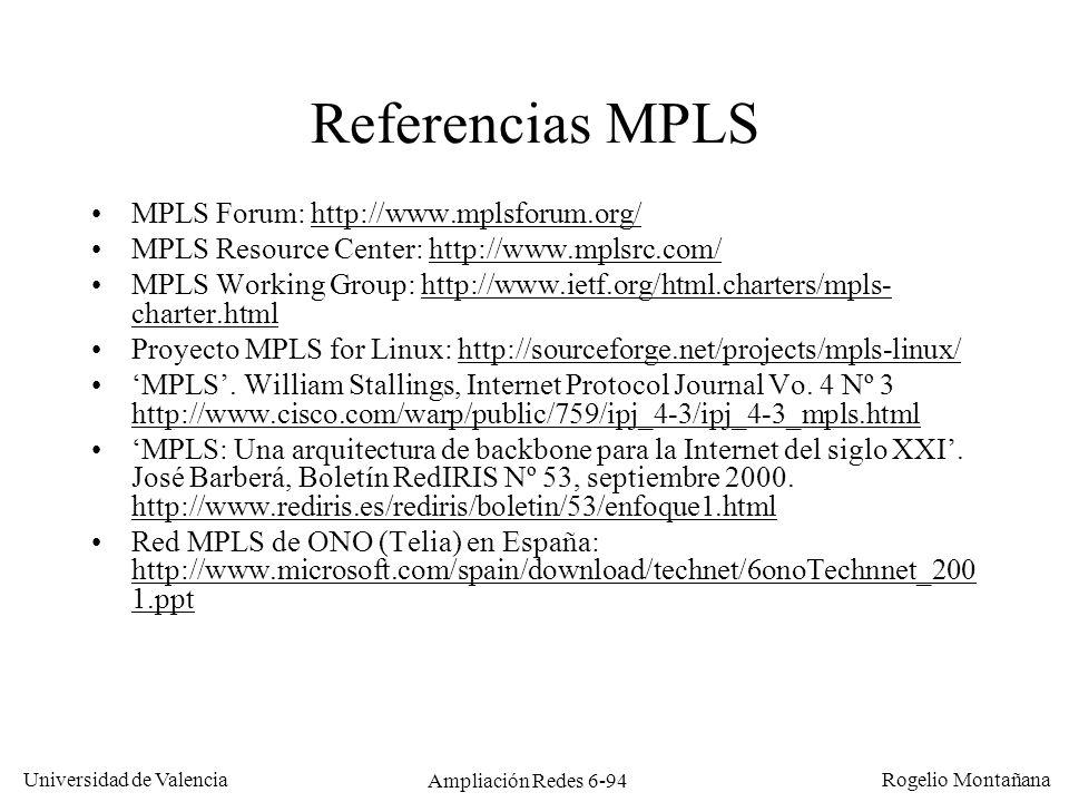 Universidad de Valencia Rogelio Montañana Ampliación Redes 6-94 Referencias MPLS MPLS Forum: http://www.mplsforum.org/http://www.mplsforum.org/ MPLS R