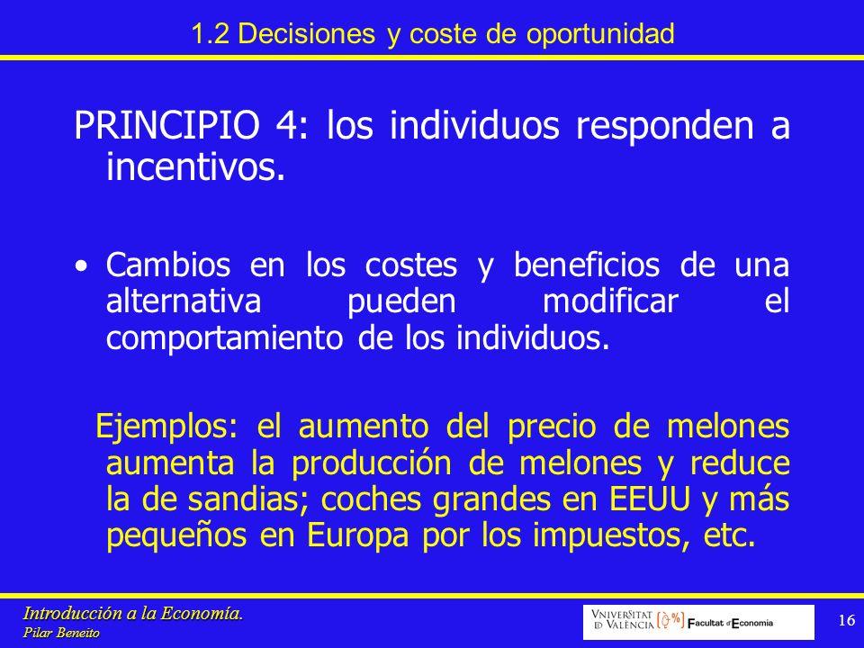 Introducción a la Economía. Pilar Beneito 16 1.2 Decisiones y coste de oportunidad PRINCIPIO 4: los individuos responden a incentivos. Cambios en los