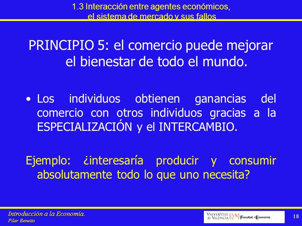 Introducción a la Economía. Pilar Beneito 18 1.3 Interacción entre agentes económicos, el sistema de mercado y sus fallos PRINCIPIO 5: el comercio pue