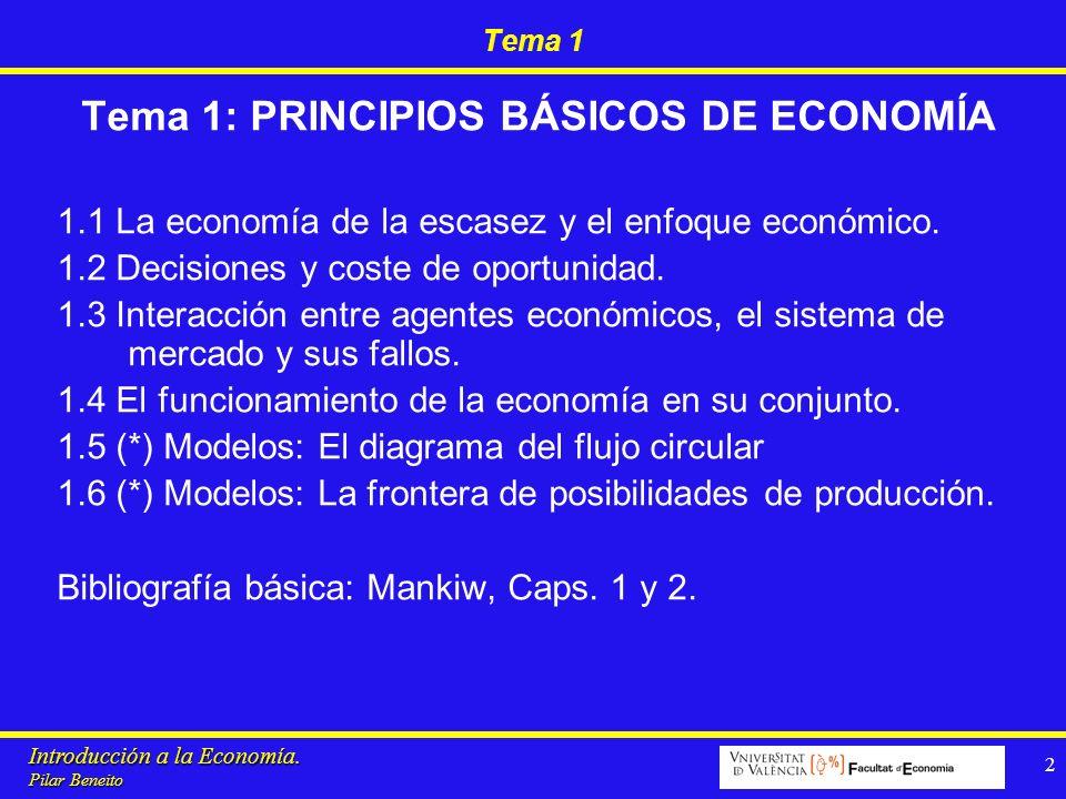 Introducción a la Economía. Pilar Beneito 2 Tema 1 Tema 1: PRINCIPIOS BÁSICOS DE ECONOMÍA 1.1 La economía de la escasez y el enfoque económico. 1.2 De