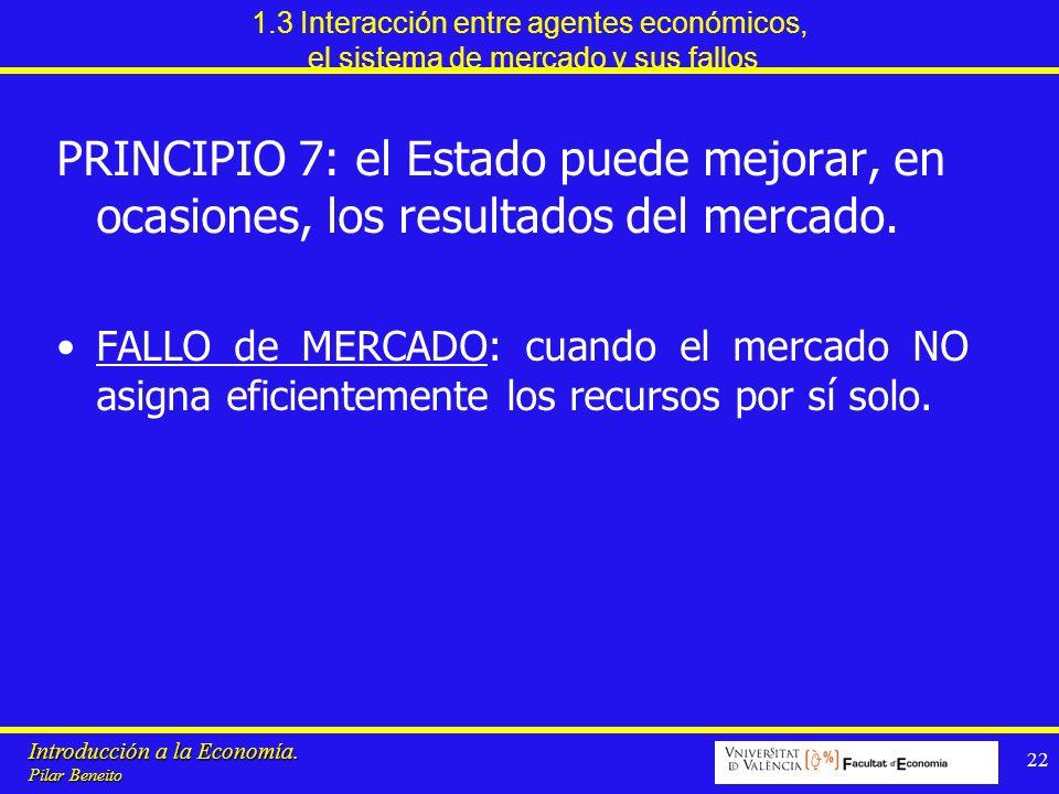 Introducción a la Economía. Pilar Beneito 22 1.3 Interacción entre agentes económicos, el sistema de mercado y sus fallos PRINCIPIO 7: el Estado puede